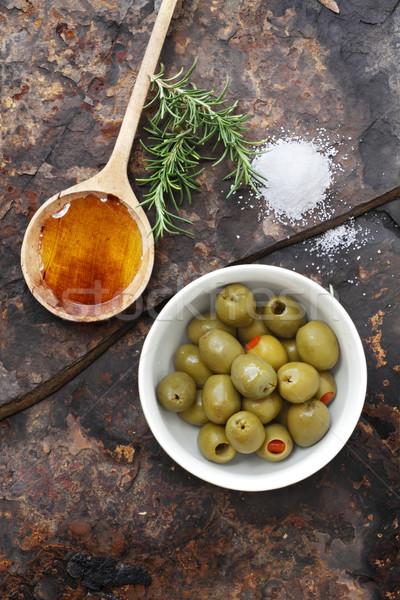 Olives, Oil and Salt Stock photo © StephanieFrey