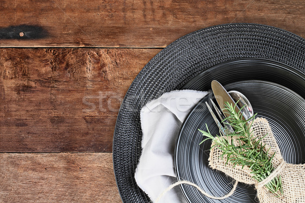 Black Dinnerware over Wooden Background Stock photo © StephanieFrey