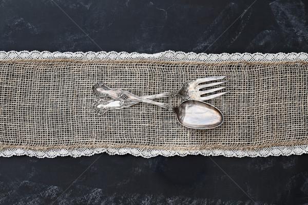Antik ezüst étkészlet iskolatábla kanál villa rusztikus Stock fotó © StephanieFrey