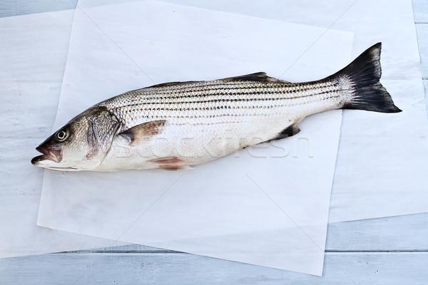 çizgili bas taze hazır akşam yemeği balık Stok fotoğraf © StephanieFrey