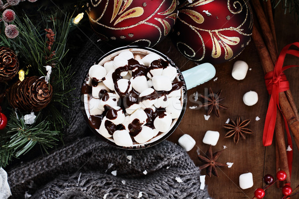 Hot Cocoa with Tiny Marshmellows and Chocolate Sauce Stock photo © StephanieFrey