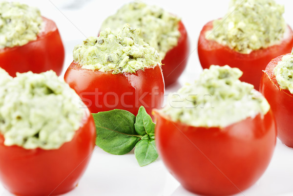 Pesto and Avocado Stuffed Tomatoes Stock photo © StephanieFrey