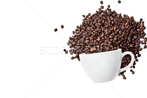 Stockfoto: Geïsoleerd · koffieboon · beker · top · koffiebonen