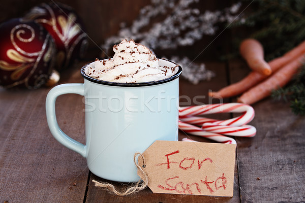 Hot Cocoa with Whip Cream for Santa Stock photo © StephanieFrey