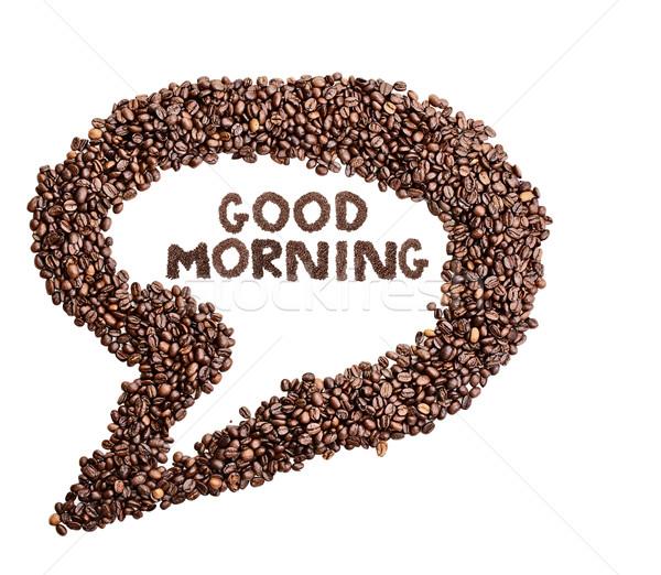 Aislado grano de café burbuja de pensamiento buenos días blanco Foto stock © StephanieFrey