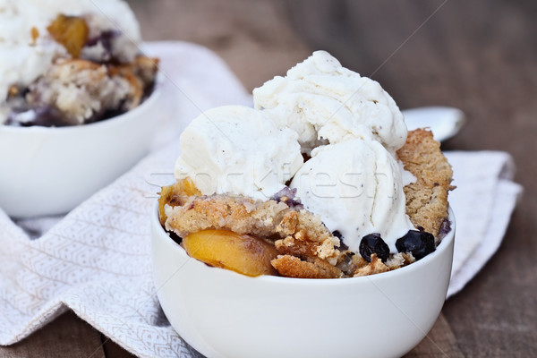 Blueberry and Peach Cobbler with Ice Cream Stock photo © StephanieFrey