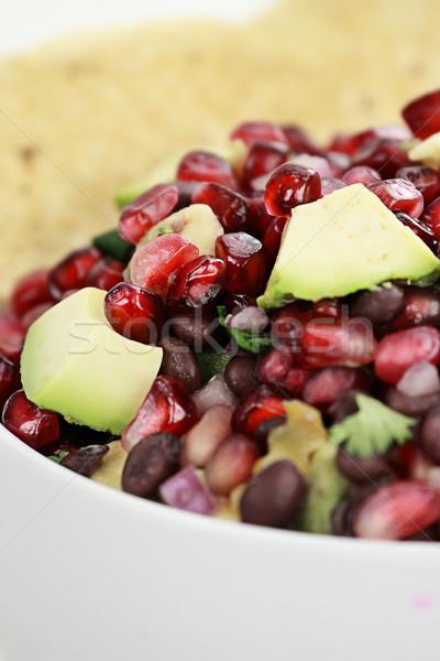 Siyah fasulye nar avokado salsa sağlıklı Stok fotoğraf © StephanieFrey