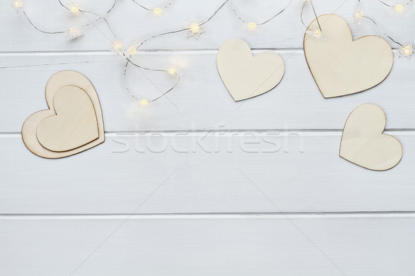 Valentines Day Hearts with Fairy Lights Stock photo © StephanieFrey