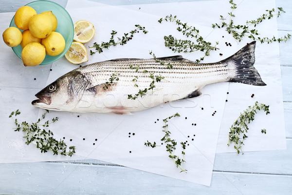 Csíkos basszus vacsora frissen előkészített étel Stock fotó © StephanieFrey