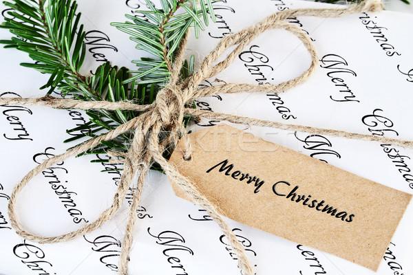 Noel hediye neşeli etiket güzel Stok fotoğraf © StephanieFrey