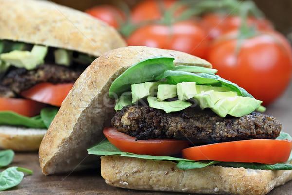 Сток-фото: вегетарианский · гриб · Burger · гамбургер · землю · грибы