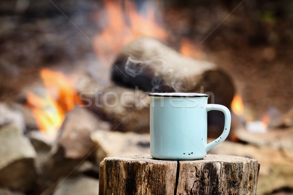 Cup of Coffee by a Campfire Stock photo © StephanieFrey