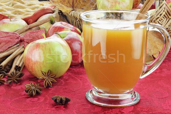 Appel cider appels hot kaneel schors Stockfoto © StephanieFrey