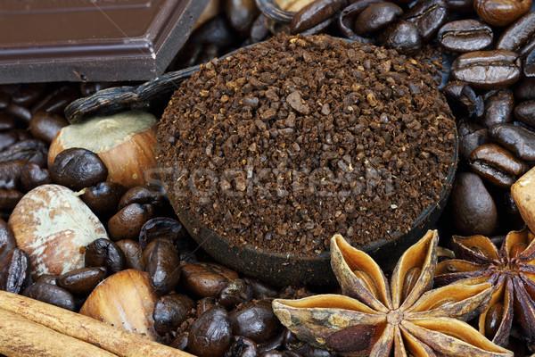 Foto stock: Café · ingredientes · grãos · de · café · terreno