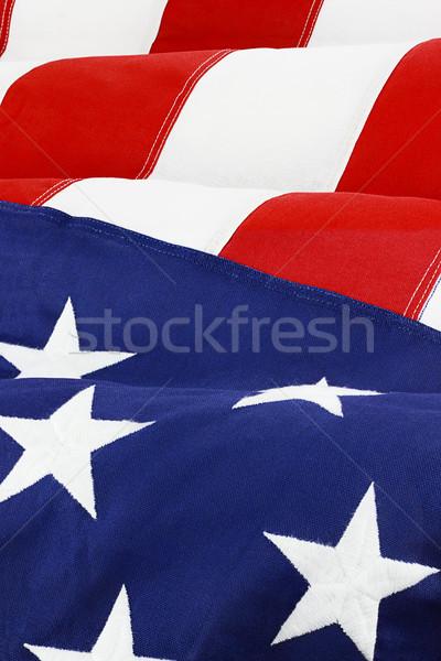 Amerykańską flagę wiatr gwiazdki niebieski Zdjęcia stock © StephanieFrey