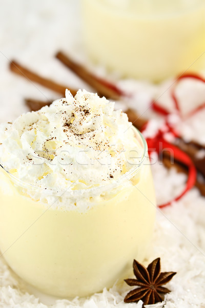 Eggnog with Whipped Cream and Cinnamon Stock photo © StephanieFrey