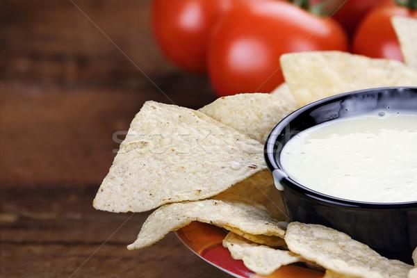 Tigela branco queijo molho milho tortilla Foto stock © StephanieFrey