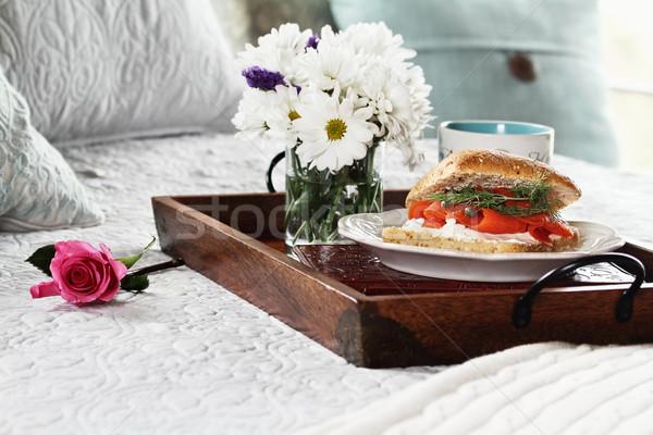 Salmon on Ciabatta Breakfast in Bed Stock photo © StephanieFrey