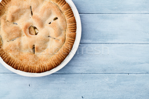 Apple Pie Over Blue Wooden Table Top Stock photo © StephanieFrey
