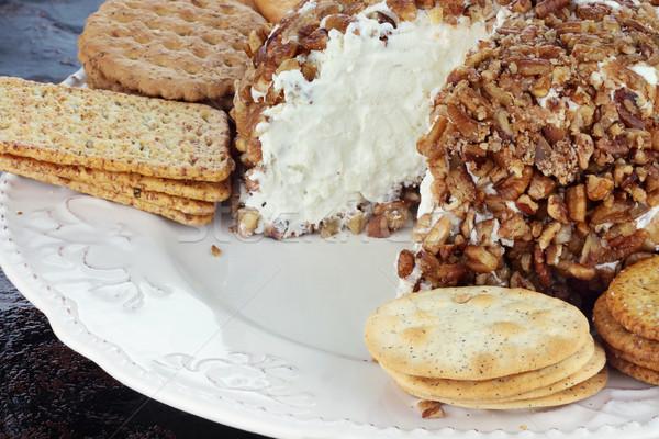 Kaas bal schimmelkaas noten geserveerd variëteit Stockfoto © StephanieFrey