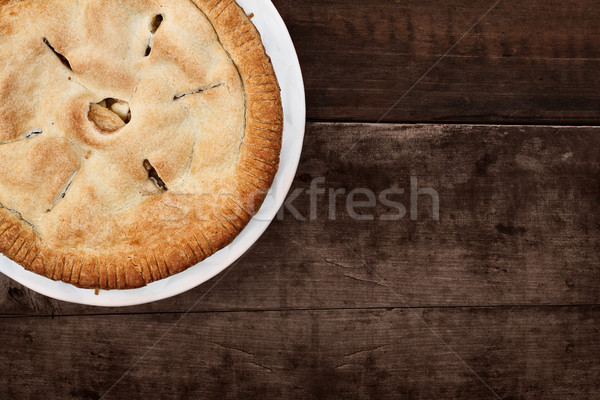 Whole Apple Pie Over Wooden Table Top Stock photo © StephanieFrey