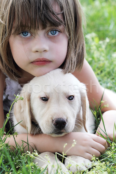 Little Girl and Her Puppy Stock photo © StephanieFrey