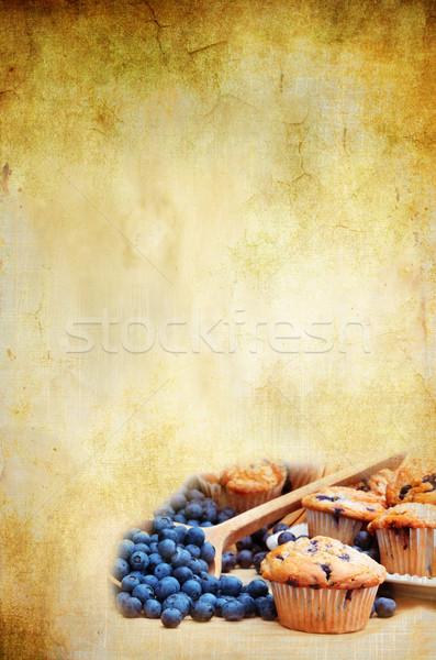 Recette chambre espace de copie myrtille muffins fraîches Photo stock © StephanieFrey