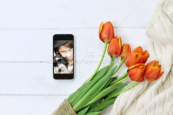 Tulips and Childs Picture for Mother's Day Stock photo © StephanieFrey