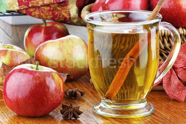 Foto stock: Suco · de · maçã · maçãs · canela · casca · anis · estrelas