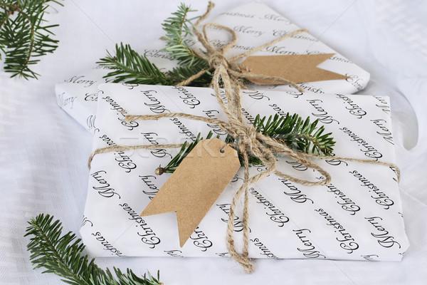 Iki Noel hediyeler güzel etiket Stok fotoğraf © StephanieFrey