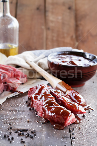 Court côtes sauce barbecue pays brosse rustique Photo stock © StephanieFrey