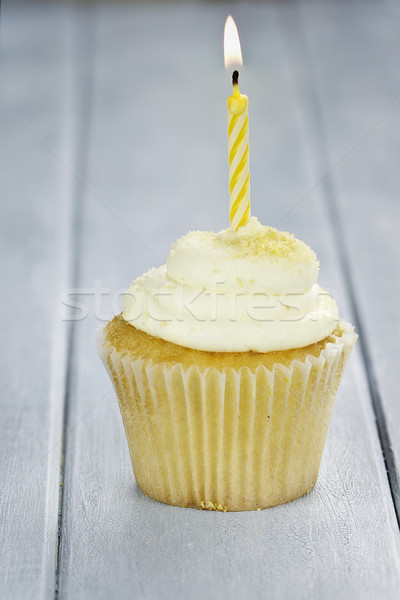 Cupcake with One Candle Stock photo © StephanieFrey