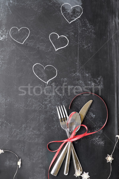 Valentines Day Cutlery over Blackboard Stock photo © StephanieFrey