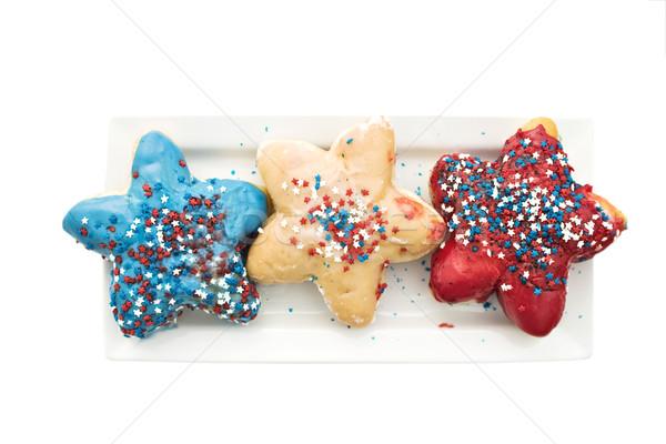 Quarto patriótico bandeira americana comida fundo bolo Foto stock © StephanieFrey