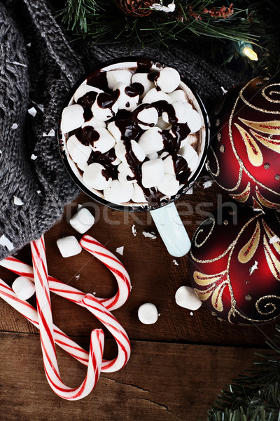Hot Cocoa with Marshmallows and Chocolate Sauce. Christmas ornam Stock photo © StephanieFrey