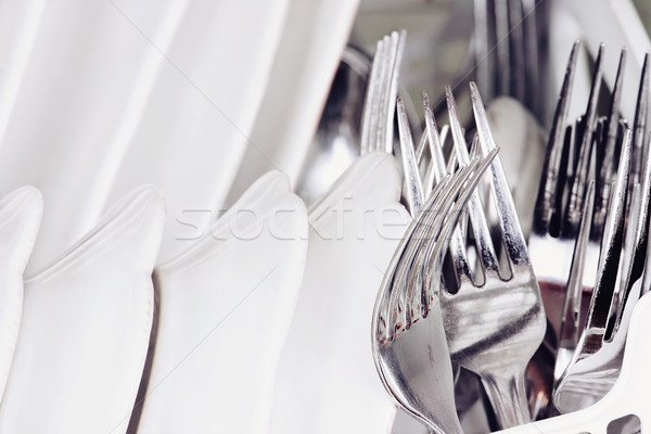 Macro of Clean Dishes Stock photo © StephanieFrey