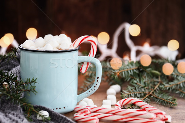 Hot Cocoa with Marshmallows and Candy Canes Stock photo © StephanieFrey