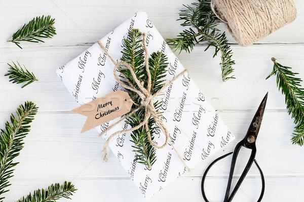 Noel hediye neşeli tatil etiket Stok fotoğraf © StephanieFrey