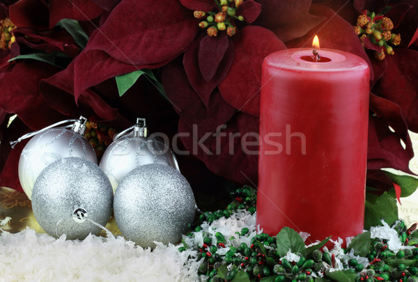 Christmas Candle and Poinsettias Stock photo © StephanieFrey