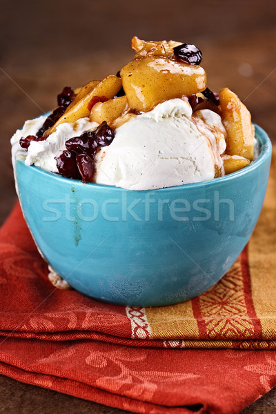 Delicious Vanilla Ice Cream with Apple Cranberry Crisp Stock photo © StephanieFrey