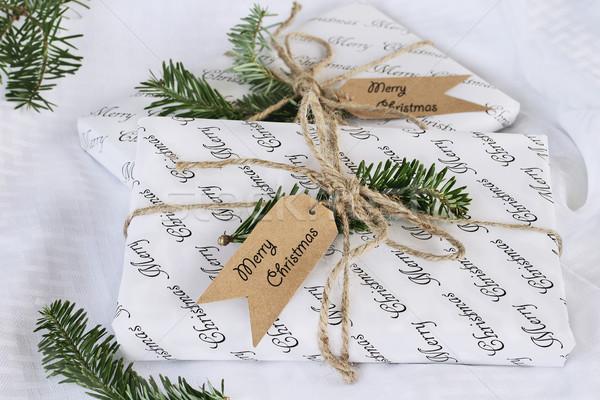 Dois natal presentes belo decorado Foto stock © StephanieFrey
