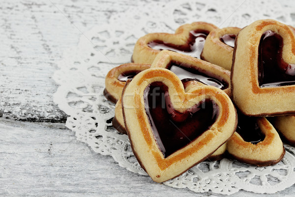 Group of Heart Shaped Shortbread Cookies Stock photo © StephanieFrey