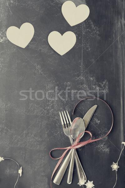 Dia dos namorados talheres corações lousa topo ver Foto stock © StephanieFrey