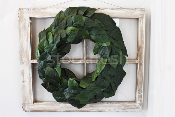Magnolia Leaf Wreath over Old Window Stock photo © StephanieFrey