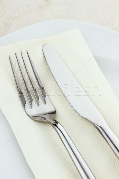 場所 銀食器 ナプキン ナイフ 画像 現代 ストックフォト © StephanieFrey