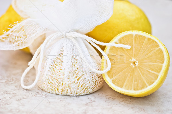 Lemons Tied in Cheesecloth Stock photo © StephanieFrey