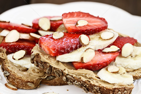 Toast with Bananas and Strawberries Stock photo © StephanieFrey