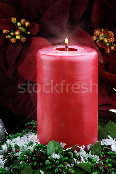 Lit Christmas Candle and Poinsettias Stock photo © StephanieFrey