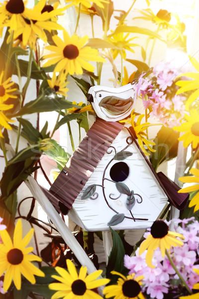 Birdhouse in Flowers Stock photo © StephanieFrey