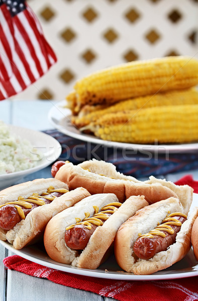 Hotdogs and Side Dishes Stock photo © StephanieFrey